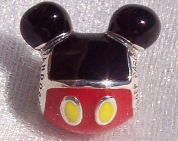 Playful Mickey, Pandora Disney, Bracelet Charm, 925, Parks Exclusive, Enamel, Iconic Silhouette, Minnie's Love, Happy, Whimsical