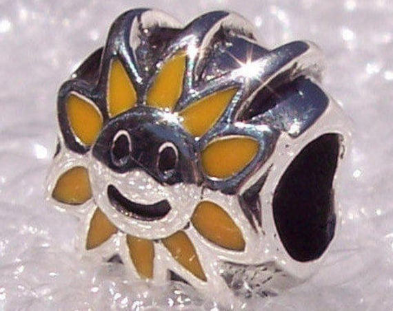 Yellow Sunshine, Pandora, Bracelet Charm, Cheery, Sterling Silver, Retired, Golden Enamel, Sun, Happy Face, Ray, Bright, Slider, Summertime