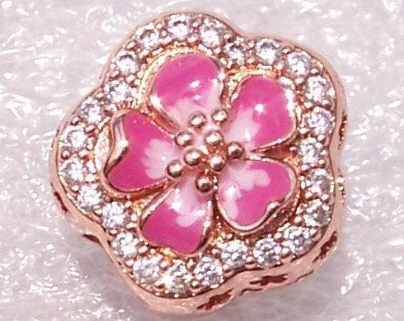 Sparkling Peach, Flower Blossom, Pandora Rose, Bracelet Charm, Hong Kong Exclusive, Vivid Cerise Enamel, Soft Pink, Slider, Cut Out, Floral