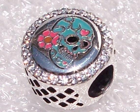 Day Of The Dead, Pandora, Dia De Los Muertos, Bracelet Charm, BLUE, Sugar Skull Icon , Mexican Holiday, Sparkling CZ, Enamel, Silver, Slider