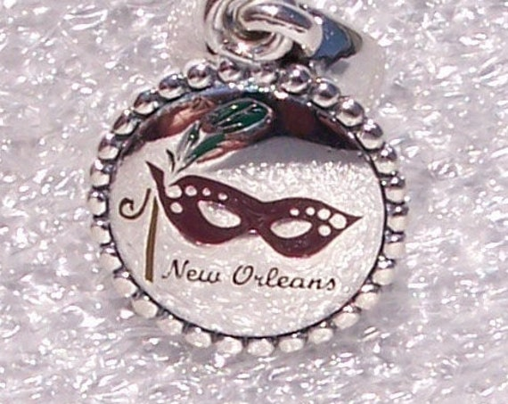 New Orleans, MARDI GRA, Pandora, Bracelet Charm, Enamel, Dangle, Magic, Travel, Sterling Silver, Sun, Fun, Mystique, Costumes, Enamel