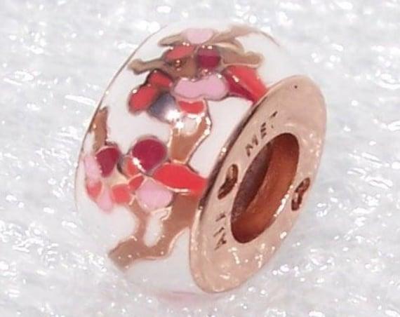 Peach Blossom, Flower Spacer, Pandora ROSE, Bracelet Charm, Exclusive, Hong Kong, Brown, Pink, Red, White, Enamel, Slider, No Glass