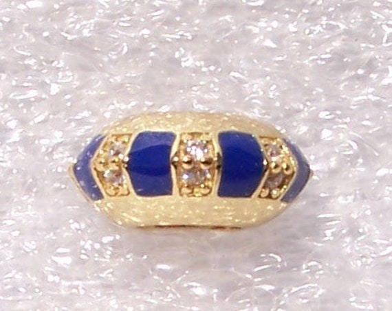 Exotic Stones, and Stripes, Pandora Spacer, Bracelet Charm, SHINE, Stackable, 18k Gold Plated, Blue Enamel, CZ, Elegant, Slider, Sparkling
