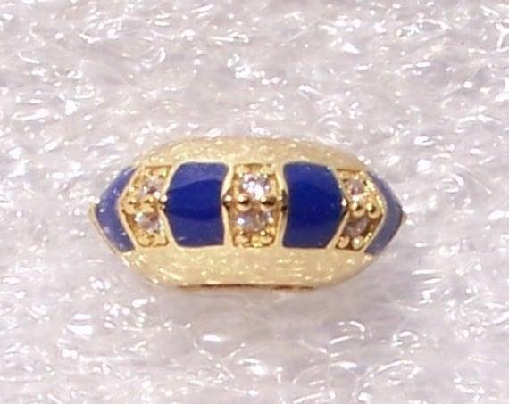 Exotic Stones, Stripes, Pandora SHINE, Spacer, Bracelet Charm, Stackable, 18k Gold Plated, Cobalt Blue Enamel, CZ, Elegant, Sparkling, 925