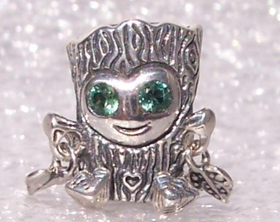 Sweet Tree Monster, Pandora, Bracelet Charm, Mischievous, Green CZ, 925, Cute Smile, Magical Creature, Enchanted Forest, Autumn 2019, Heart
