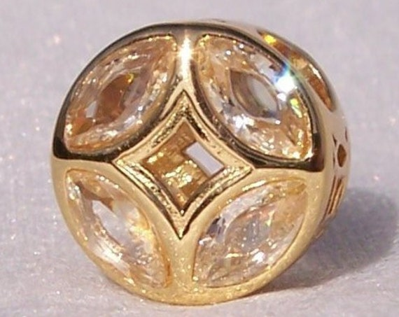 GOOD FORTUNE, Coin Charm, Pandora Shine, Sunshine Yellow CZ, Ancient Chinese, 18ct Gold Plated, Lucky, Dimension, Unique, Glamorous, Slider