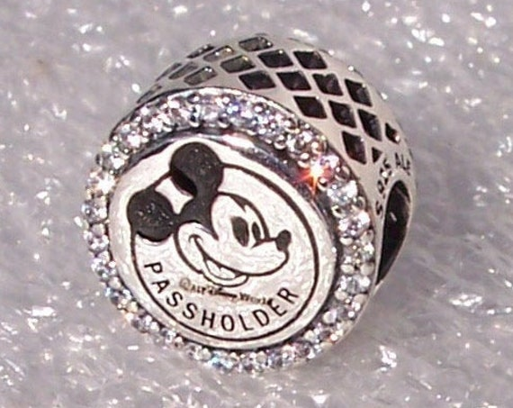 Passholder, Pandora, Walt Disney World, Annual Pass Holder, Bracelet Charm, Exclusive, Parks, Mickey Mouse, Castle, Silver, Clear CZ, Slider