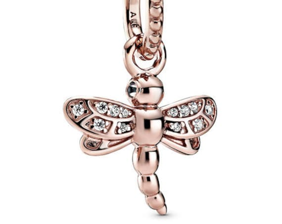 Sparkling Dragonfly, Pandora Rose, Pendant, Spirit Of Change, Transformation, Clear CZ, Journey, Self Discovery, 14K Gold Plated,Spring 2020