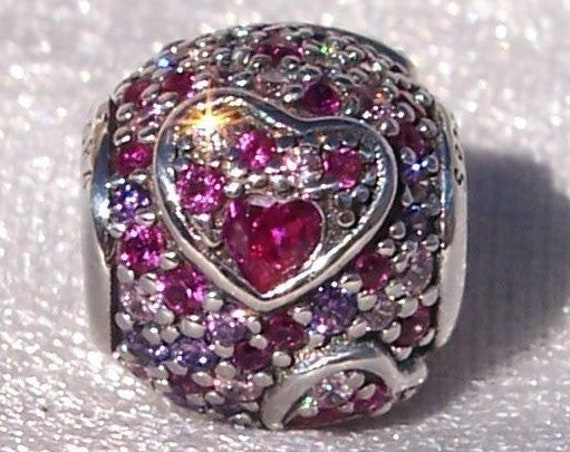 Pandora, Hearts of Love, Asymmetric, Bracelet Charm, Lover, Sterling Silver, Multi Colored CZ, Slider, 2019