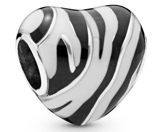 Wild Stripes Heart, Pandora, Bracelet, Silver, Animal Print, Style, Zebra, Trend, Monochrome Enamel, Wild Side, Nature, Travel Memories