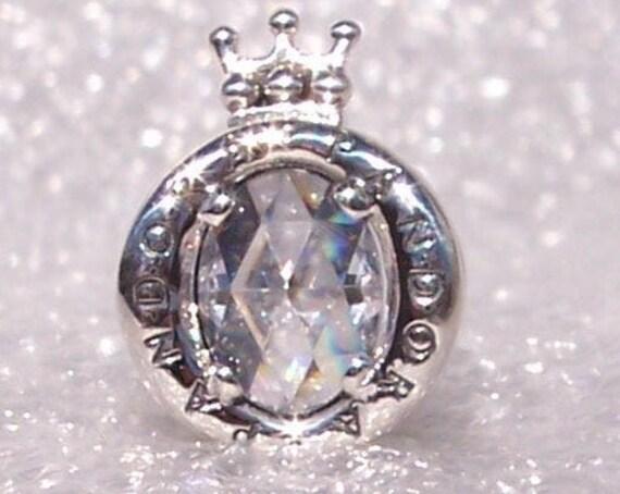 CLEAR, Sparkling Crown O, Pandora Logo, Bracelet Charm, Clear Crystals, Regal, Sterling Silver, Slider, Symbol, Iconic, Recognizable, Bling