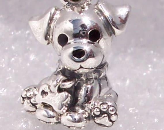 Labrador Puppy, Pandora, Bracelet Charm, Man's Best Friend, Loyal, Hearts, LOVE, Enamel, Bone, Sterling Silver, Animal, Dog