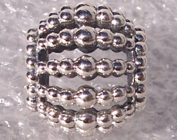 Beaded Charm, Openwork, Pandora Charm, Bracelet Bead, 925, 3 Dimensional, Sophisticated, Elegant, Texture, Gift Idea,Statement,Varying Sizes