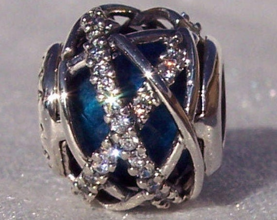 Royal Blue Galaxy, Pandora, Bracelet Charm, Orbiting, Blue Crystal, CZ, 925, Celestial, Universe, Slider, Winter Wonderland, Galaxy, Holiday