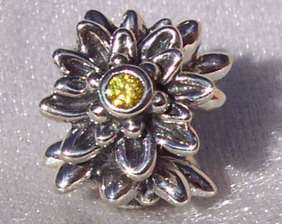 Edelweiss, Pandora, Bracelet Charm, DISCONTINUED, European, Patriotism, Delicate, Yellow CZ, 925, Floral, Flower, Texture, Detailed, Subtle