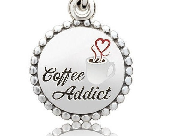 Coffee Addict Charm, Pandora, Enamel, 925, Caffeine, Energy, Brewed, Espresso, Tropical, Cappuccino,Morning Cup,Java,Roasted,Latte Macchiato