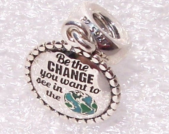 PANDORA, Be The Change, You Want To See, In The World, Bracelet Charm, Inspiration, Sterling, Dangle, Enamel