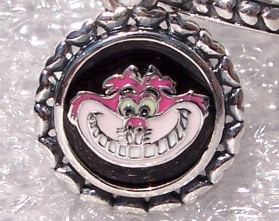 Cheshire Cat, Pandora, Disney Parks, Exclusive, Bracelet Charm, Silver, Enamel, Dangle, Were All Mad Here, Grinning Face, Magic Kingdom