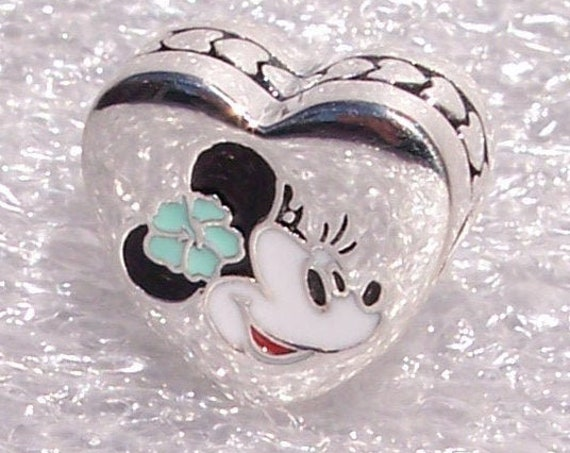 Aulani, Pandora Disney, Resort Exclusive, Minnie Mouse, Bracelet Charm, Hawaiian Flower, Silver, Enamel, Symbol, Travel, Heart, Aqua,