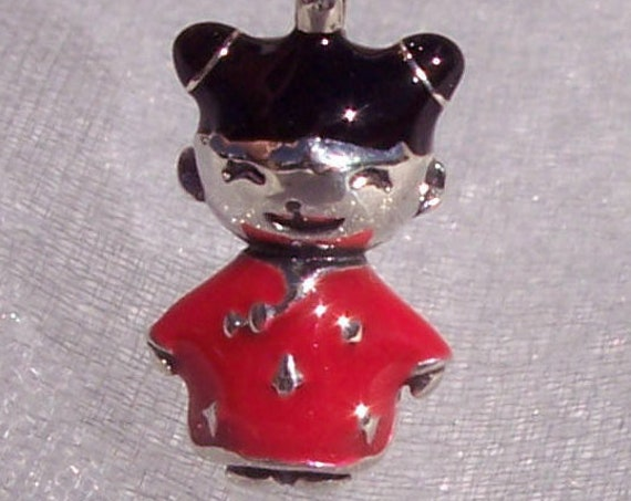 Chinese Doll Charm, Pandora, Bracelet Bead, Chinese New Year, 925, Good Luck, Sweet Face, Red China, Enamel, Chinese Woman, Asian Inspired
