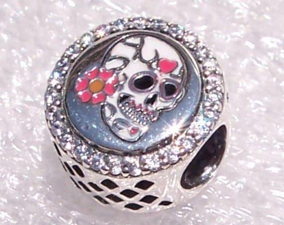 Day Of The Dead, Pandora, Dia De Los Muertos, Bracelet Charm, PINK, Sugar Skull Icon , Mexican Holiday, Sparkling CZ, Enamel, Silver, Slider