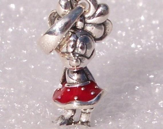 Minnies Dress Charm, Pandora Disney, Polka Dots, Bracelet Bead, Pendant, Vibrant Red, 925, Enamel, Mickeys Love,Bow,Iconic,Character,Friends