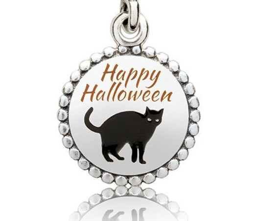 Happy Halloween, Cat, Pandora, US Exclusive, Bracelet Charm, Silver, Enamel, Black Enamel, Costumes, Trick or Treat, Superstition, Dangle