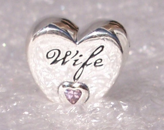 WIFE Love Heart, Pandora, Bracelet Charm, Silver,  Pink Crystal, Autumn 2019, Dedication, Special Gem, Love Of My Life, Significant Other