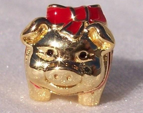 Piggy Bank, Pandora SHINE, Bracelet Charm, Chinese New Year, 18K Plated, Red Enamel Bow, Career, Prosperity, Luck, Wealth