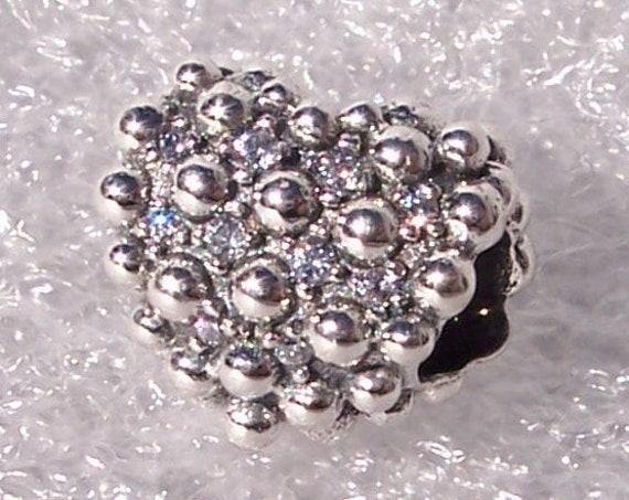 Beaded, Sparkling Heart, Pandora, Bracelet Charm, Clear CZ, 925, Token Of Love, 3 Dimensional, Sophisticated, Shimmer, Secretes, Splendid