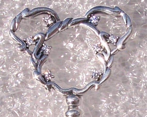 Mickey Mouse, Fantasyland, Castle KEY Necklace, Pandora Disney, Parks Exclusive, Bracelet Charm, Pendant, 925, Clear CZ, Iconic, Disneyland