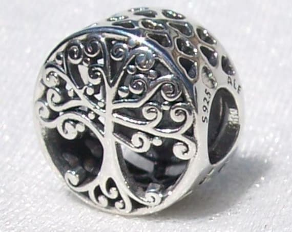 Family Roots, Pandora, Bracelet Charm, Silver, Honors Family, Tree Of Life, Autumn 2018, Slider, Blooming Branches, Heart Cutouts, Silver