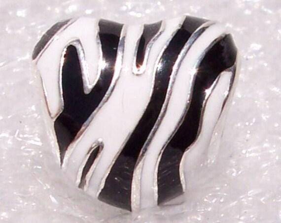 Wild Stripes Heart, Pandora, Bracelet, Silver, Animal Print, Style, Zebra, Trend, Monochrome Enamel, Wild Side, Nature, Travel Memories