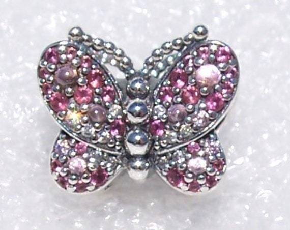 Dazzling, PINK Butterfly, Pandora, Bracelet Charm, Crystals, Silver, Life, Soul, CZ, Spring, Nature, Stunning, Symbol Of Resurrection,