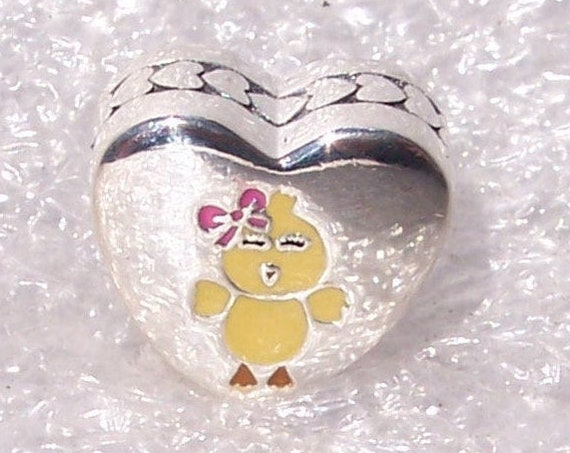 My Favorite Chick, Pandora, Bracelet Charm, Yellow Chick, Heart, Cheerful, Pink Bow, Yellow, Smiling Eyes, Silver, Enamel