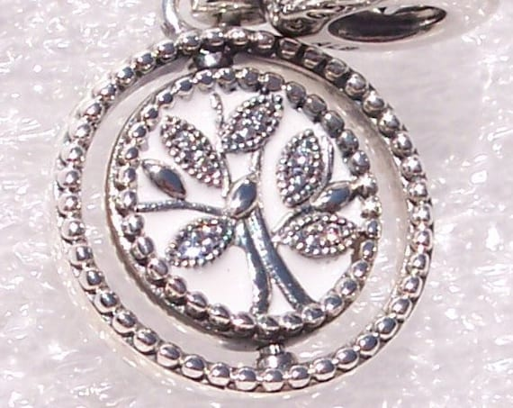 Spinning, Tree Of Life, Pandora, Dangle, Bracelet Charm, Tree Of Life, FAMILY, Glittering, Roots, White Enamel, Sterling Silver, Clear CZ