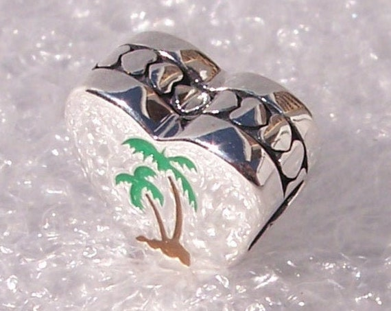 Florida Palm Tree, Pandora, Store EXCLUSIVE, Bracelet Charm, Heart, Enamel, Destination, Travel, 925, Tropical, Vacation, Sunshine State
