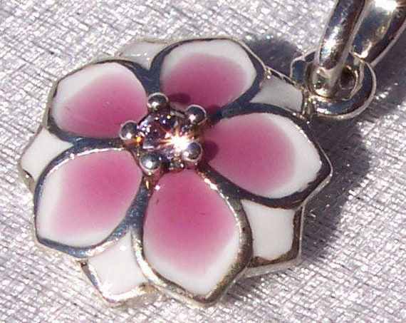Magnolia Bloom, Pandora, Bracelet Charm, Dignity, Ancient China, Womanly Beauty, Gentleness, Perseverance, Dangle, Enamel, Pink CZ, Silver