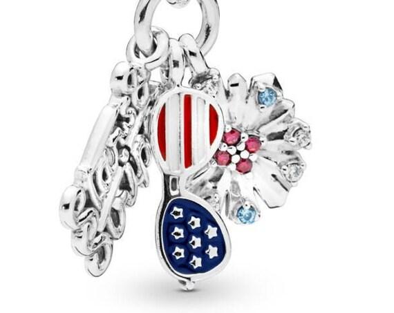 American Icon, Pandora, Bracelet Charm, Dangle, Enamel, 2019, USA Flag, 4TH Of July, Celebration, Travel, Sunglasses, Fireworks, Glittering