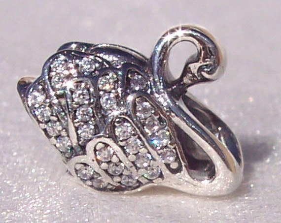 Majestic Swan, Pandora, Bracelet Charm, Grace, Beauty, Love, Music, Poetry, Silver, Clear CZ, Sparkling, RETIRED, Plumage, Animal, Nature