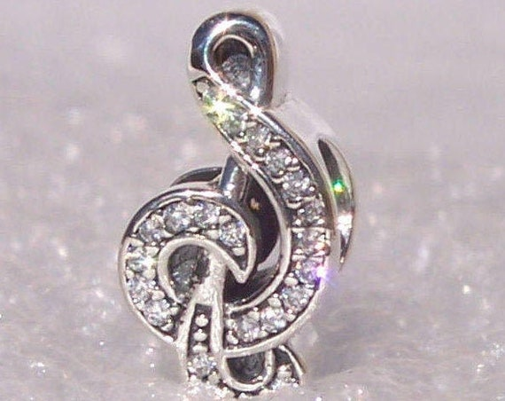 Sweet Music Note, Pandora, Bracelet Charm, Time and Pitch, Duration Of Sound, Musical, CZ, Sterling Silver, Treble Clef, Teacher, Musician