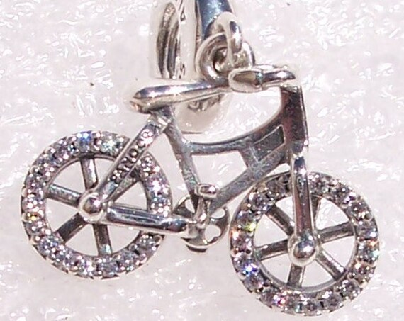 Brilliant Bicycle, Pandora, Dangle, Bracelet Charm, Embellished, Bling, Cyclist, Memories, Family Time, Clear CZ, Rotating Wheels, Silver