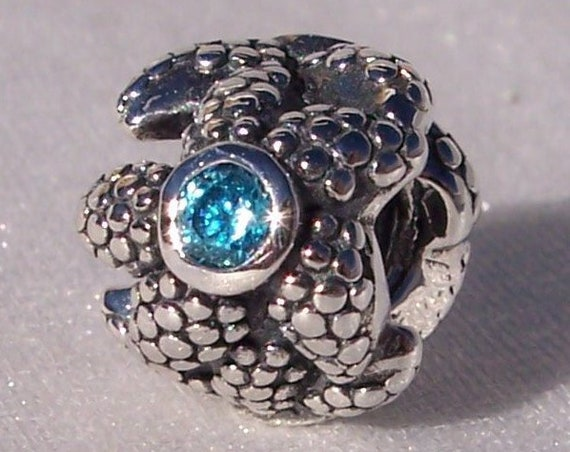Sparkling Starfish, Sea Star, Pandora, Bracelet Charm, Ocean, Blue Spinel CZ, Summer, Beach, RETIRED, Sterling Silver, Vacation, Nautical