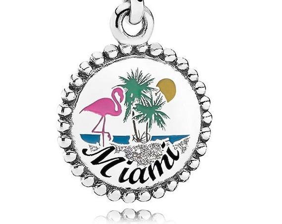 Miami Beach, Flamingo, Pandora, Enamel, Dangle, Travel, Silver, Sun, Fun, Sand, Guidance, Splash Of Pink, Spectacular City, Bird, Florida