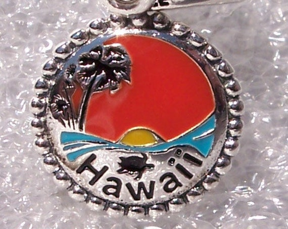 Hawaii Sunset, Honu Turtle, Pandora, Bracelet Charm, US EXCLUSIVE, Enamel, Dangle, Destination, Travel, Sterling Silver, Tropical, Palm Tree