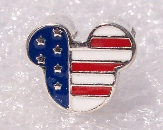 Mickey Americana, Pandora Disney, US Flag, Bracelet Charm, Silver, Red White Blue, Enamel, Icons, American Culture, Independence Day, Proud