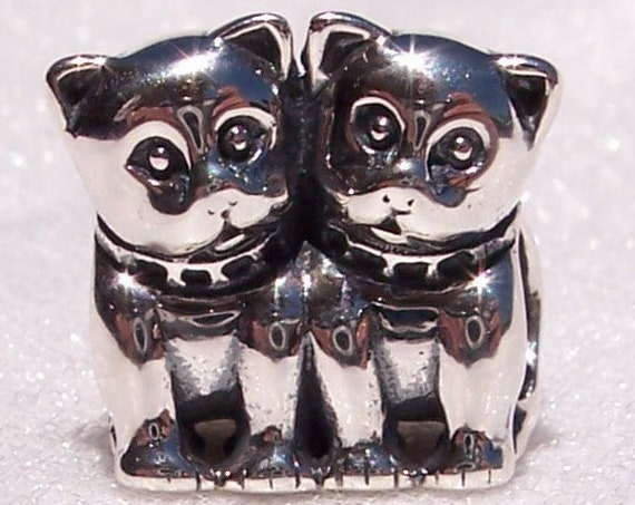 Purrfect Together, Pandora, Bracelet Charm, Cats, Furry Friends, Kittens, Sterling Silver, Retired, Twins, Family, Sisters, Brothers, Animal
