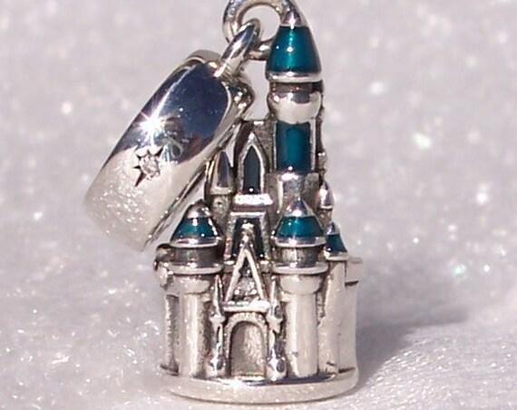Cinderella Castle, Pandora, Walt Disney World, Bracelet Charm, Magic Kingdom, Sparkling, Blue Shimmer, Enamel, Turrets, Silver, Resort, CZ