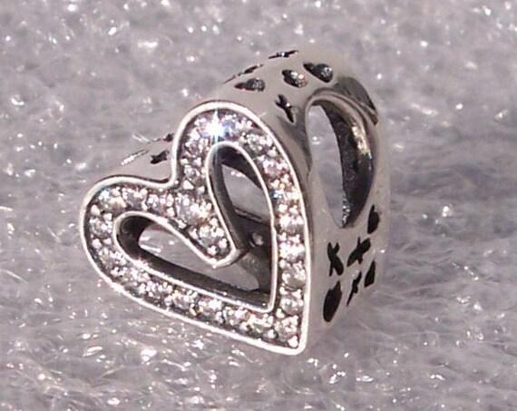 Sparkling, Freehand Heart, Pandora, Bracelet Charm, 925, Kisses, Hugs, Perfectly Imperfect, 2020, 50 Brilliant CZ, Slider