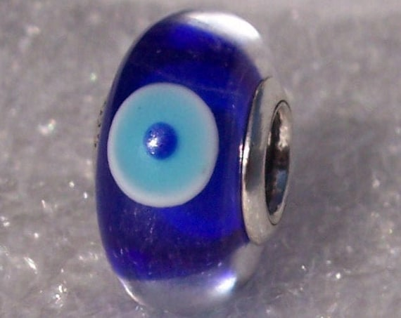Evil Eye Bead, Protection, Pandora, UK Exclusive, Bracelet Charm, Talismanic,Blue Murano Glass,Rare,Greek Holiday,Brings Good Luck,Gift Idea